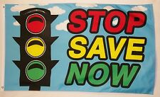 Stop Save Now Business Flag 3' X 5' Indoor Outdoor Multi-Color Banner