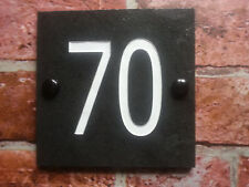 Deep engraved slate plaque with the number of the house gate door 10 x 10 cm