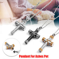 Stainless Steel Cross Necklace Pendant For Ashes Cremation Pet Bone Memorial Urn