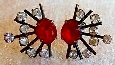 Vintage Art Deco Sterling Silver and Glass Stone Earrings 1930s to 1940s