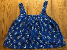 Hollister Women's Juniors Blue Floral Smocked Tank Top Split Back Size XS