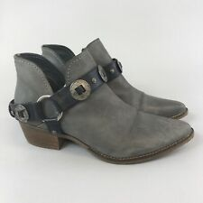 Steven Madden US9.5 M UK7.5 Grey Black Leather Ankle Pull On Buckle Cowboy Boots