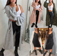 Women Chunky Knitted Oversize Plus Size Ladies Balloon Sleeve Long Maxi Cardigan