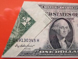 $1 1935 e silver certificate graded error:  printed fold over  26-085