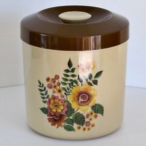 Two-Tone Large Plastic Biscuit Barrel with Floral Decoration c.1960s