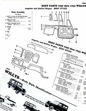1949 1950 1951 - 1953 WILLYS JEEPSTER STATION WAGON BODY PART FRAME CRASH SHEETS