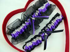 New HandMade Silver Purple Black Wedding Garter Football Getthegoodstuff