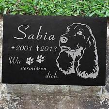 """COCKER SPANIEL Grabstein Grabschmuck Tiergrabstein Hund-008 â–ºIHR TEXTâ—""""30 x 20 cm"""