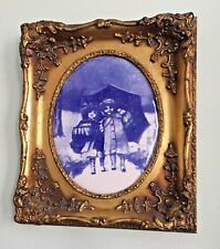Rare and Beautiful Antique Porcelain Flow Blue Children Plaque Framed
