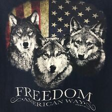 Boys 5 Star T-Shirt Size Large Wolves American Flag Freedom American Way