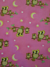 OWLS TREE MOON STARS PINK YELLOW FLANNEL FABRIC FQ