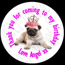 35x Personalised PUG Stickers labels Birthday Party For Sweet Cones Boxes Bags -