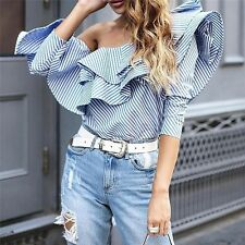 S M L Women Ruffles One Shoulder Tops Long Sleeve Blouse Blue Striped Shirts USA