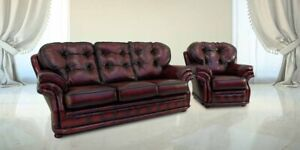 Chesterfield Uk Handmade Knightsbridge 3+1 Seater Antique Oxblood Real Leather