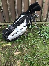 Taylor Made Burner HT Irons and backpack stand bag. 4-9,PW,AW used very lightly