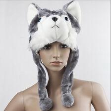 Cartoon Animal Wolf/Penguin Cute Fluffy Plush Warm Hat Cap Scarf Earmuff Mascot