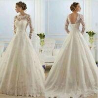 UK 2016 White/Ivory long Sleeve lace wedding dress bridal Gown size 6-22
