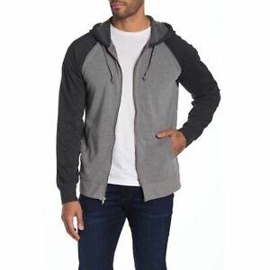 Threads 4 Thought Men's Fleece Raglan Contrast Front Zip Hoodie Size Medium NEW