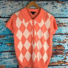 Women Westbound Petites PM Short Sleeve Orange White Argyle Polo Sweater Collar