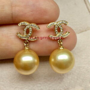 Top 12-13MM NATURAL real round SOUTH SEA deep golden PEARL EARRINGS 14K GOLD