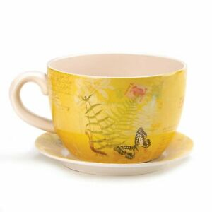 Large Garden Butterfly Teacup Planter - NIB