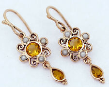 E123 Lovely Genuine 9ct Rose Gold NATURAL Citrine & Pearl Drop Earrings Scroll