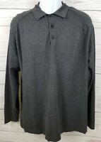 Tommy Bahama Gray Long Sleeve Silk Polo Shirt Mens Size Large