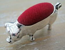 Novelty Edwardian Style Hallmarked Solid Sterling Silver Pig / Sow Pin Cushion