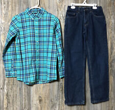 Lands End Boys Size L 14/16 Green Button Up Urban Pipeline 14 Jeans