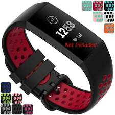 Perforated Two-colour Silicone Watch Strap Band For Fitbit Charge 3, 4 - M9