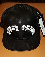 40 OZ NYC BLACK FAUX LEATHER CAP ADJUSTABLE SNAPBACK TRUCKER HAT 40oz