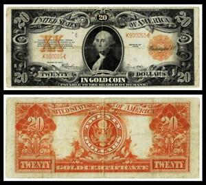 1922 $20  GOLD CERTIFICATE NOTE~K800055 ~VERY FINE