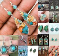Antique Women 925 Silver Turquoise Gems Wedding Engagement Drop Dangle Earrings