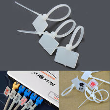 100pcs White Nylon Zip Cable Tie Label Strap Strip With Marking Tag 3X100mm