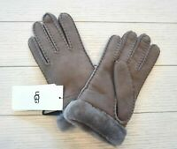 NWT $155 UGG Women's Shearling & Suede Leather Gloves, Stormy Grey, Size L