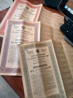 Lot Set x 3 Russian 1916 Military Government 100 500 1000 Roubles UNC Bond Loan