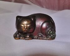 Vintage Copper Bronze Brass Sleeping Cat & Peony Figurine Nemuri Ningyo Japan