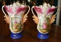 ANTIQUE PAIR HAND PAINTED MOTHER DAUGHTER THEMED PARIS PORCELAIN 2 HANDLED VASES