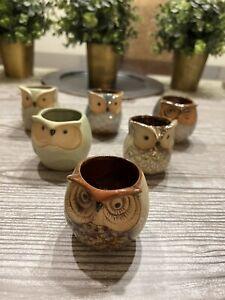 6pcs/set Mini Ceramic Owl Succulent Plant Container Pot Flower Home Desk Decor