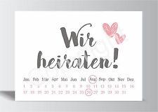 10x Save the Date Karte Wir heiraten grau rosa Hochzeit Vorankündigung Postkarte