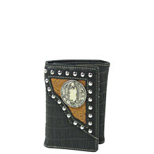 BLACK CROCODILE LEATHERETTE JESUS MENS TRIFOLD WALLET ID HOLDER WESTERN COUNTRY