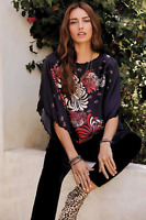 💖 NWT Embroidered Hem JOHNNY WAS Floral JOLIE CROP TOP Tunic Blouse S $240 💖