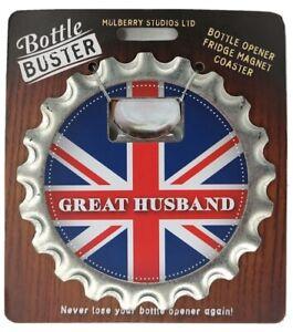 GREAT HUSBAND - Bottle Buster British Ed 3 - 1 Opener Coaster Fridge Magnet Beer
