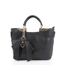 Frauen Schwarz Schleife Tasche Handtasche Schulter Damen Crossbody Satchel Bag