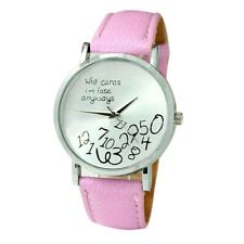 New Who Cares I'm  Late  Silver Faced Quartz Watch Pink Strap UK SELLER