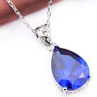 Sepcial Teardrop Jewelry Gift Dark Blue Topaz Gemstone Silver Necklace Pendants