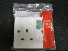 MK Logic Plus K2757D2WHI 13A 1 Gang Double Pole Switched Socket Green Rocker