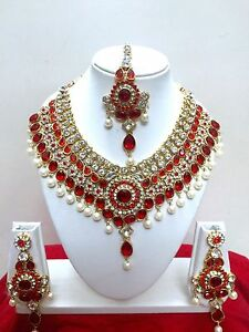 Indian Bollywood Style Diamante Kundan Pearl Gold Tone Bridal Jewelry Set