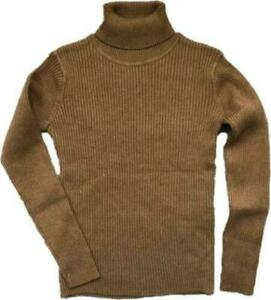 NEXT Tan Girls Warm Knitted Ribbed Polo Neck Roll Neck Jumper top Sweater 3/12