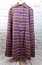 Vintage lined wool cape coat purple arm slits M L XL hand made tapestry Welsh?